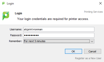 Printing client login example