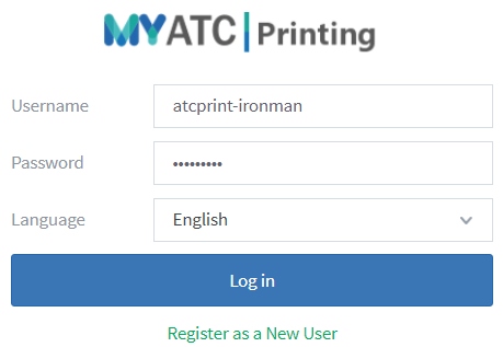 Example of MyATC Printing website login